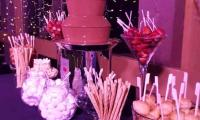 A dreamy setting for this chocolate fountain at this birthday.