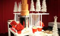 A chocolate fountain hired to feature in a desert bar in celebration of the successful year in business.