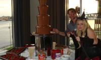 ADAPS staff lapping up the chocolate fountain buffet at the Christmas Party.