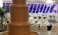 Another wedding set up for the large chocolate fountain waiting for guests to arrive.