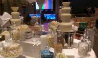 White on white.  Customise the chocolate fountain to suit your event.