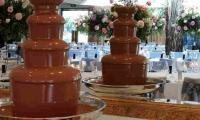 The chocolate fountain as a stunning backdrop where the wedding guests enjoyed the flowing chocolate.
