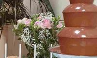 The chocolate fountain complimented the elegant set up for the wedding guests to enjoy.