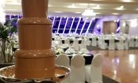 A large chocolate fountain makes a statement in this stunning set up for a wedding.